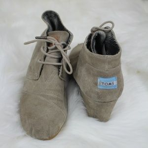 Toms Suede Wedge Lace Heel Ankle Boots Shoes 8